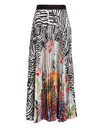 Mixed Print Pleated Skirt, MULTI, hi-res