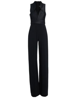 Sleeveless Crepe Wide-Leg Jumpsuit, BLACK, hi-res