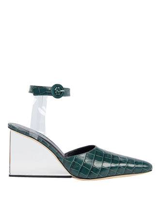 Lex Croc-Embossed Lucite Wedges, EVERGREEN, hi-res