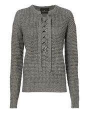 Kimmy Lace-Up Melange Sweater, GREY 2, hi-res