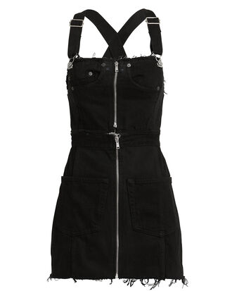 Overall Black Denim Dress, BLACK DENIM, hi-res
