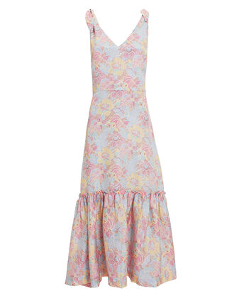 Georgia Floral Silk Dress, MULTI, hi-res
