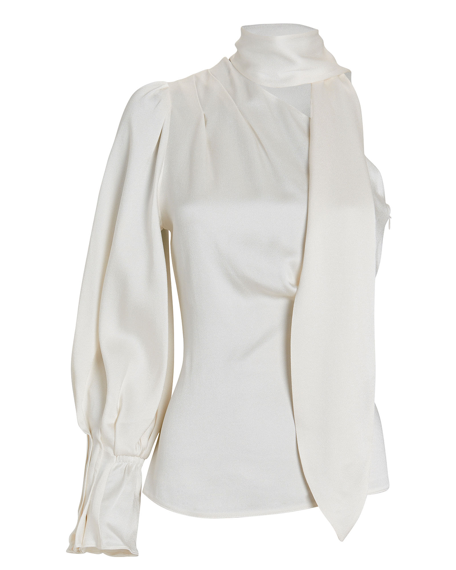 Satin One-Shoulder Tie-Neck Blouse, IVORY, hi-res