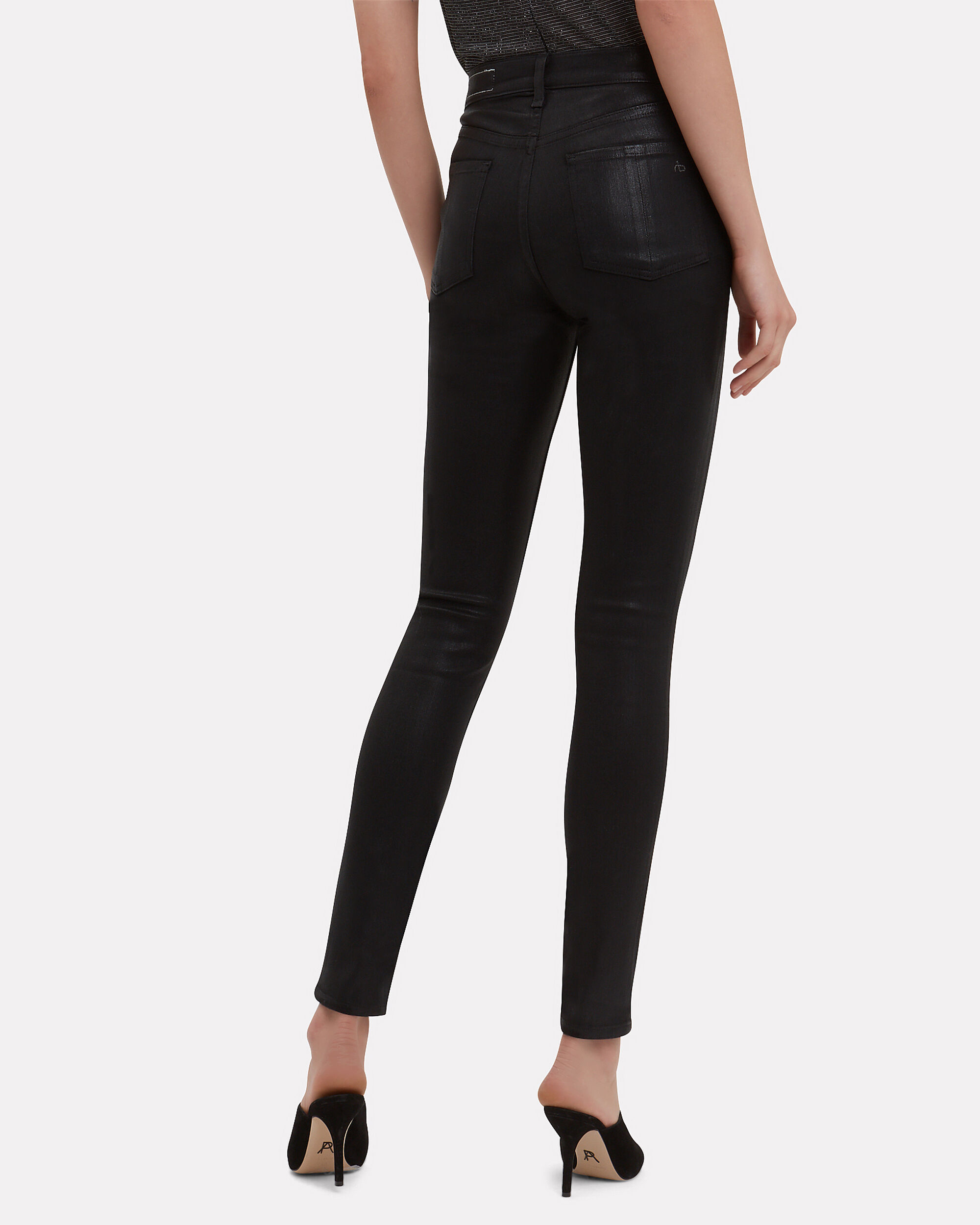 High-Rise Black Coated Skinny Jeans, BLACK DENIM, hi-res