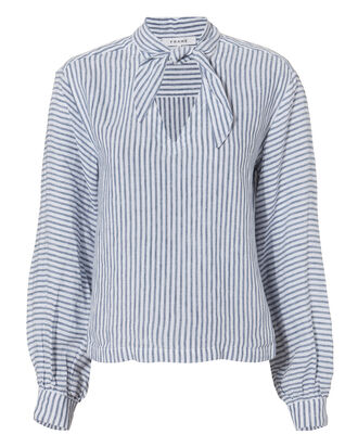 Handkerchief Striped Linen Top, BLUE-MED, hi-res