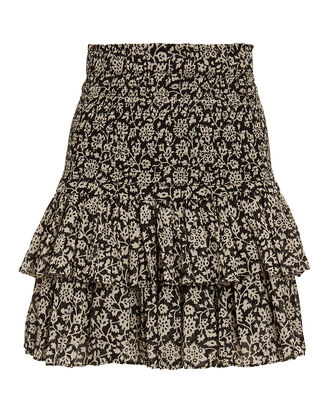 Naomi Smocked Mini Skirt, BLACK, hi-res