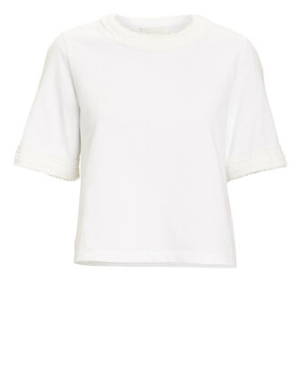 Frayed Cropped T-Shirt, WHITE, hi-res