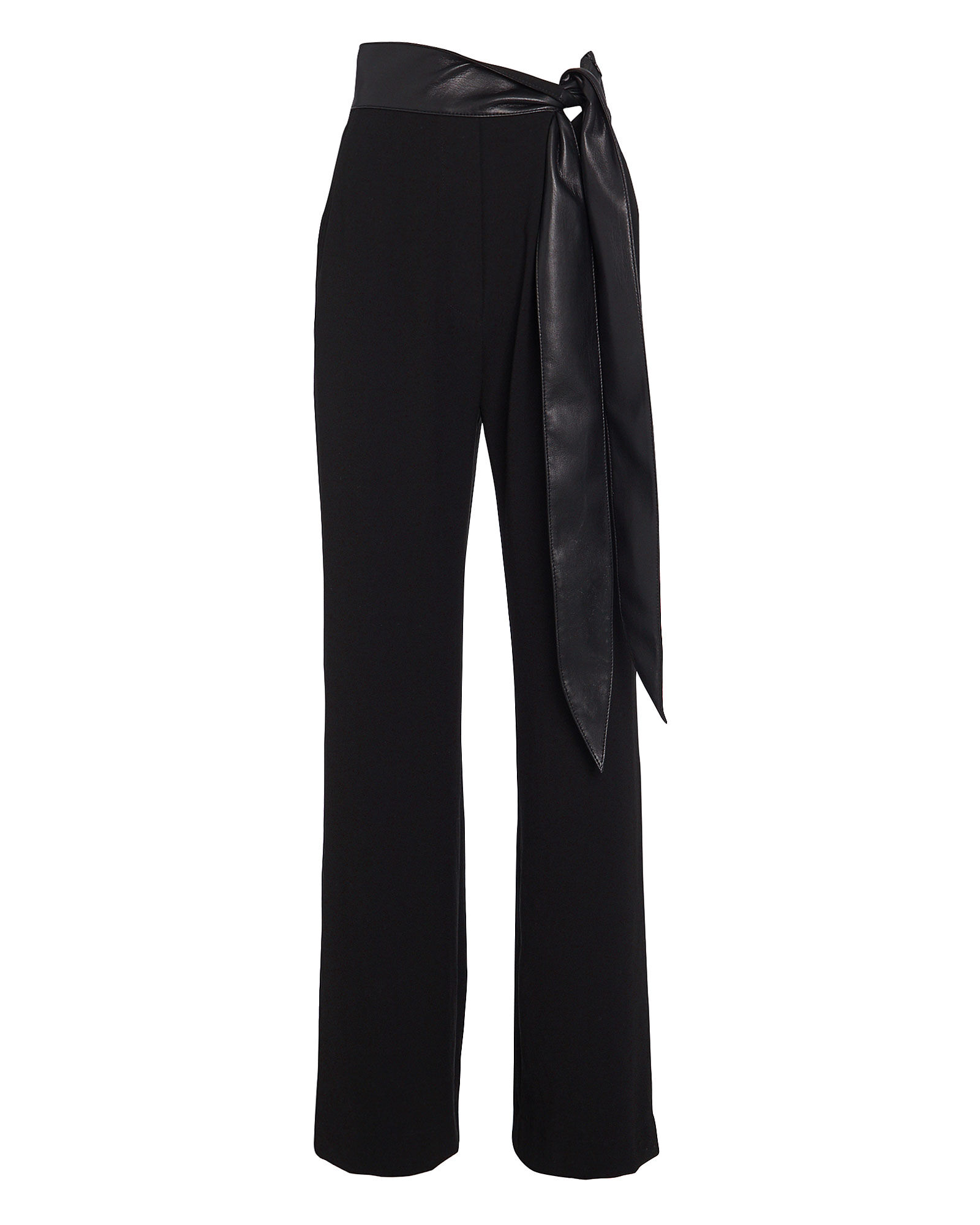 Cecelia Vegan Leather-Trimmed Crepe Pants, BLACK, hi-res