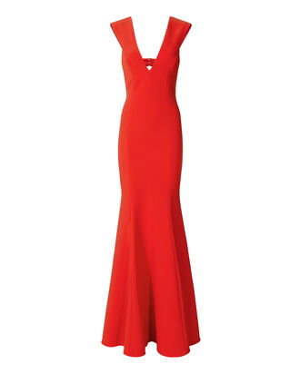 Victoria Deep-V Mermaid Gown, RED, hi-res