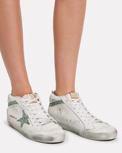 Mid Star Glitter Sneakers, WHITE, hi-res