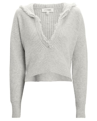Caitlin Hooded Wool-Cashmere Sweater, LIGHT GREY, hi-res