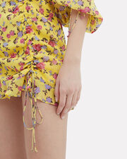 Beaumont Floral Silk Mini Dress, YELLOW/FLORAL, hi-res