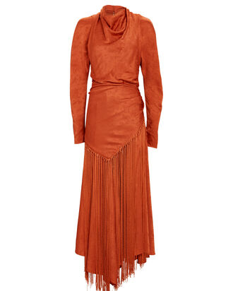 Leighton Fringed Paisley Midi Dress, ORANGE, hi-res