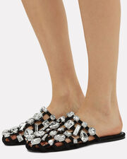 Amelia Crystal Cage Suede Slippers, BLACK, hi-res