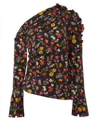 Belle Asymmetrical Floral Blouse, BLACK, hi-res