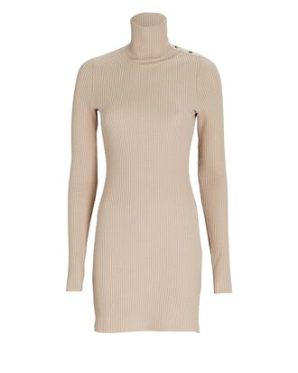 Waffle Knit Turtleneck Mini Dress, BEIGE, hi-res