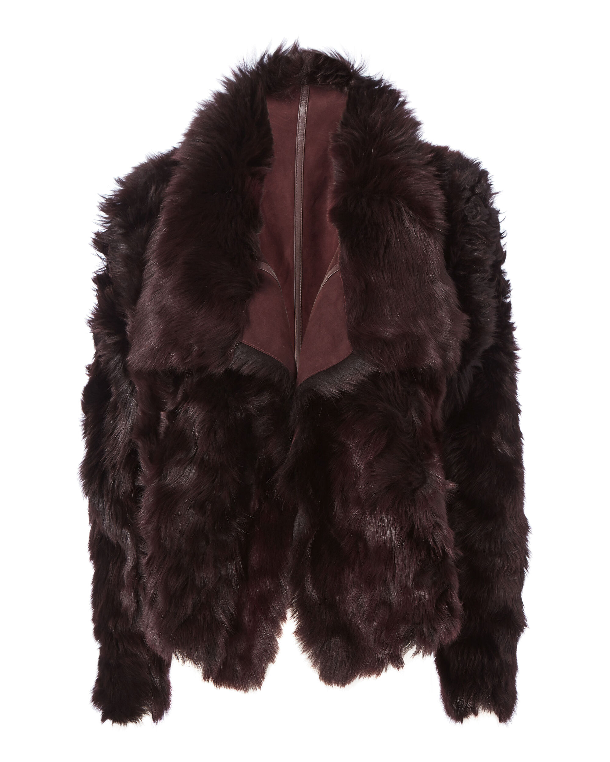 Reversible Burgundy Shearling Coat, RED-DRK, hi-res