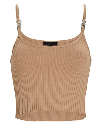 Primary Rib Cropped Harness Tank Top, BROWN, hi-res