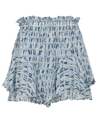 Sornel Frilled Chiffon Shorts, LIGHT BLUE, hi-res