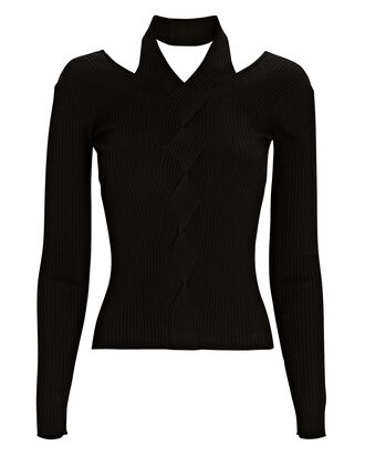 Leah Cut-Out Cable Knit Top, BLACK, hi-res