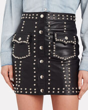 Studded Leather Mini Skirt, BLACK, hi-res