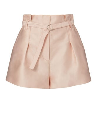 Origami Pleated Satin Shorts, BLUSH, hi-res