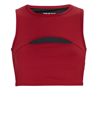 Ribbed Cut-Out Sports Bra, RED, hi-res
