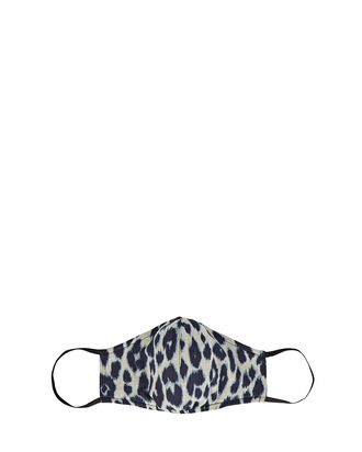 Leopard Printed Face Mask, IVORY/BLUE, hi-res