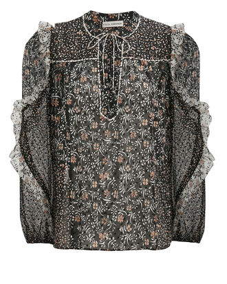 Norma Silk Georgette Blouse, BLACK/FLORAL, hi-res