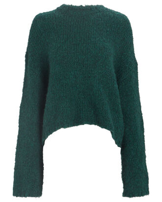 Alpaca Wool Crewneck Sweater, GREEN, hi-res