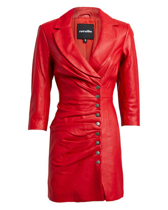 Willa Leather Mini Dress, RED, hi-res