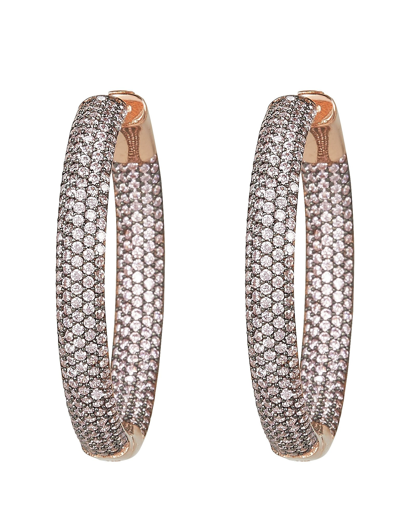 Tire Crystal Embellished Hoop Earrings, GOLD, hi-res