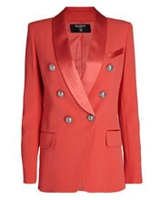 Double-Breasted Crepe Blazer, PINK, hi-res