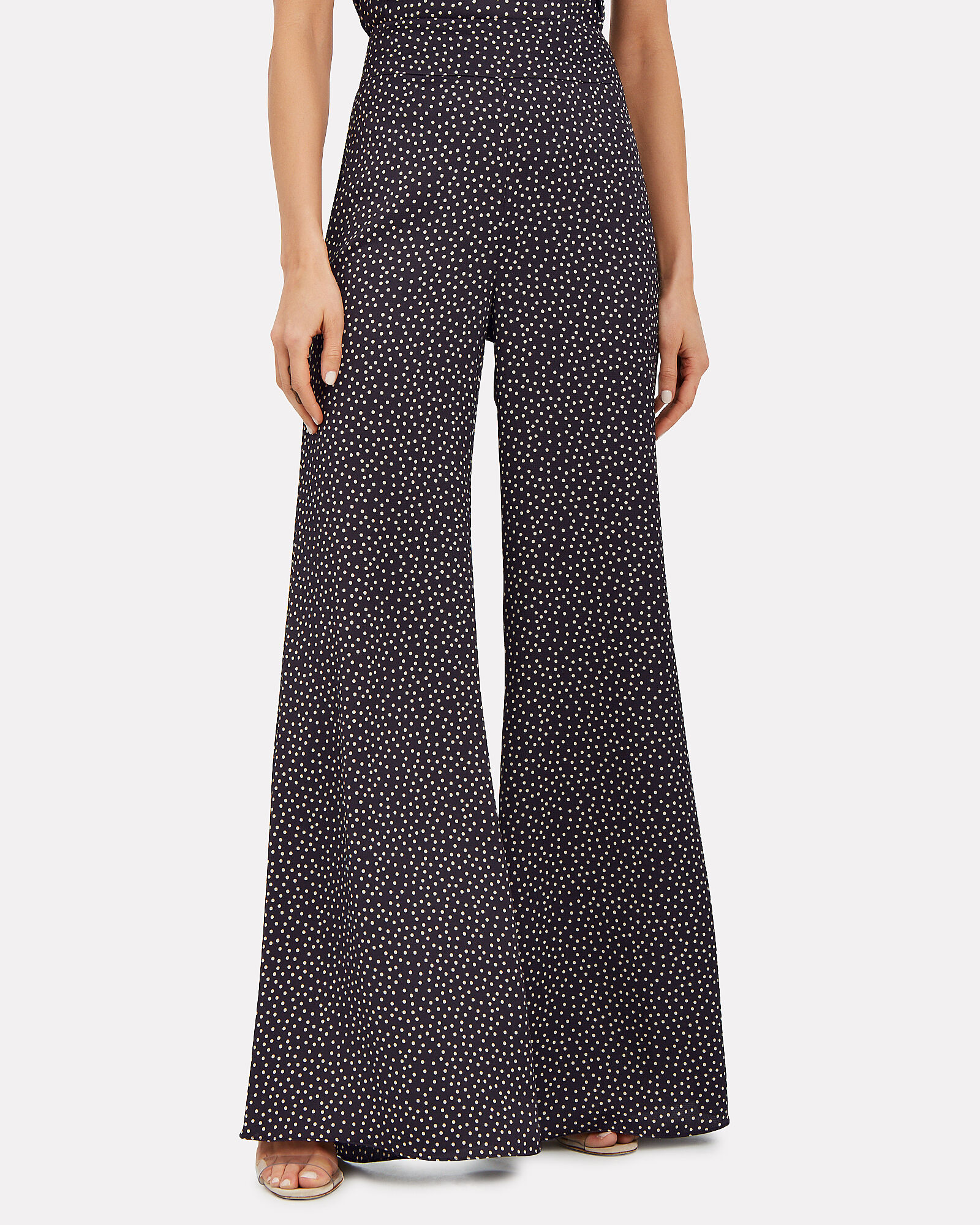 Minna Flared Polka Dot Trousers, NAVY/BEIGE, hi-res