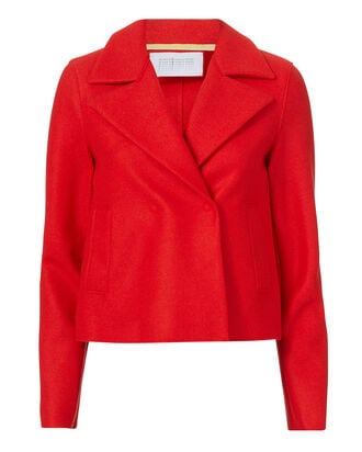 Red Crop Wool Peacoact, RED, hi-res