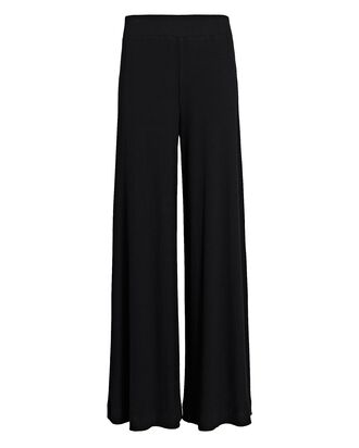 The Crawford Rib Knit Wide-Leg Pants, BLACK, hi-res