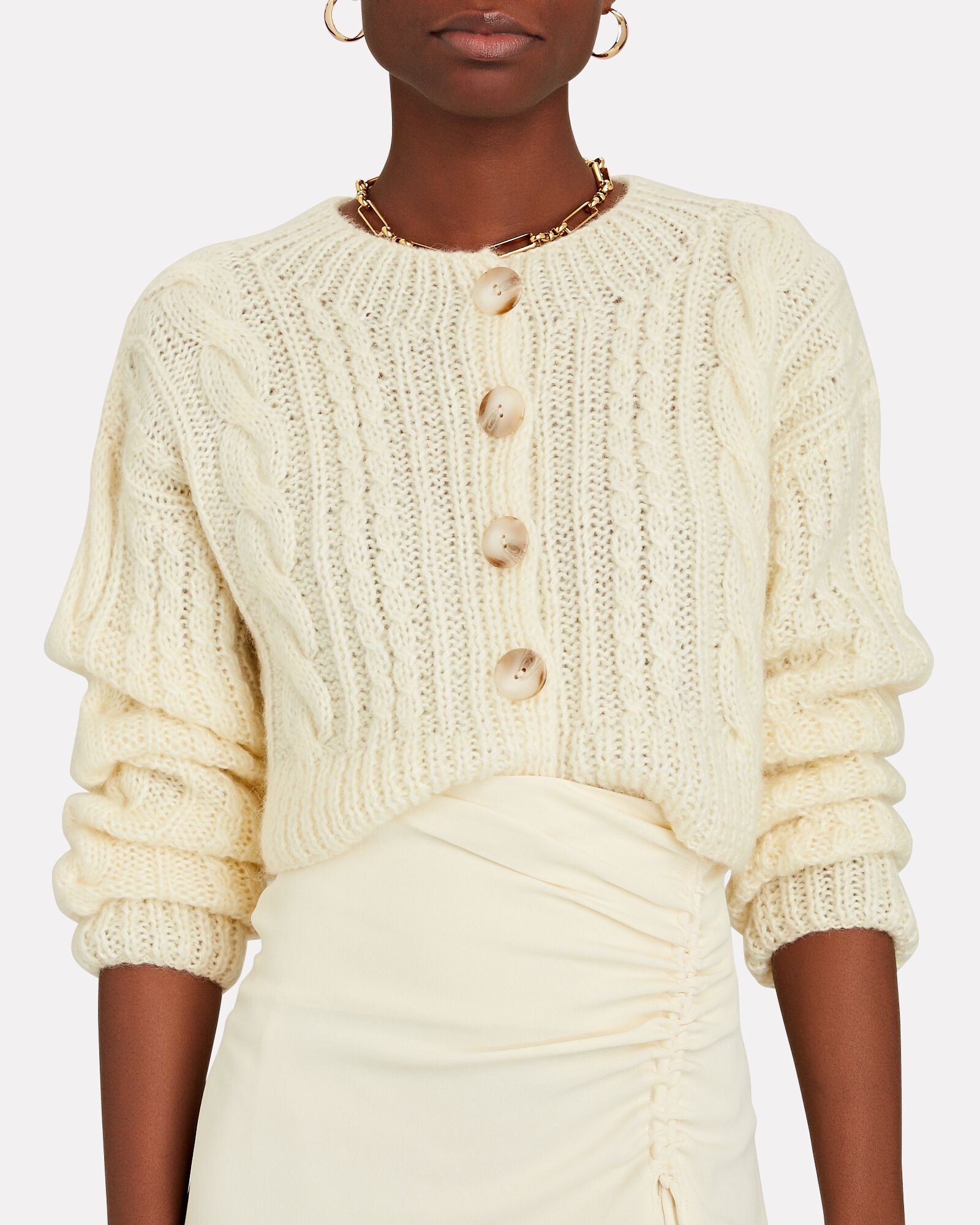 Cropped Cable Knit Cardigan, IVORY, hi-res