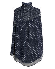 Polka Dot Smocked Navy Top, NAVY/WHITE, hi-res