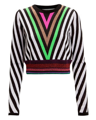 Lurex Hem Chevron Sweater, IVORY/BLACK/GREEN, hi-res