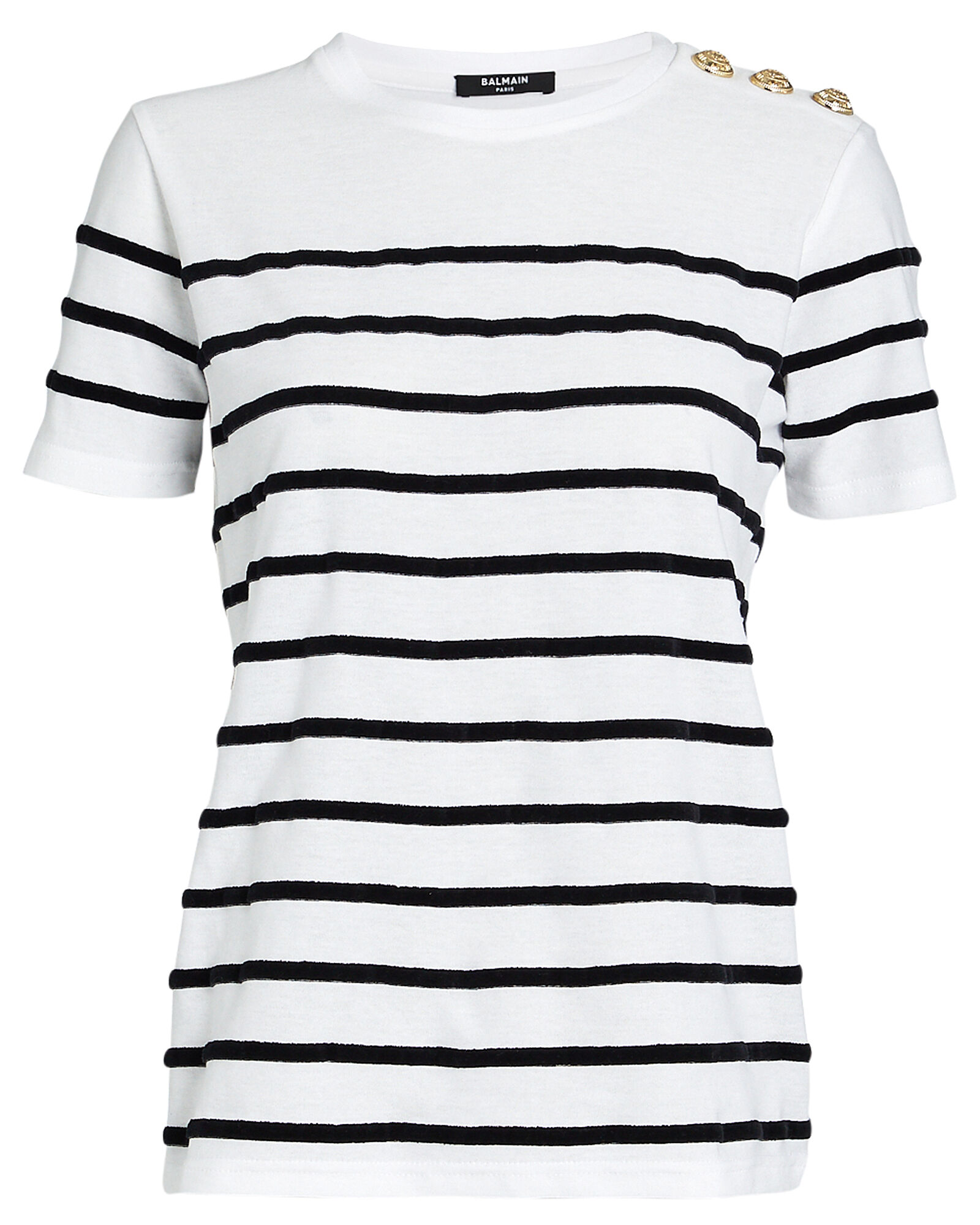 Velour Striped Cotton T-Shirt, BLACK/WHITE, hi-res
