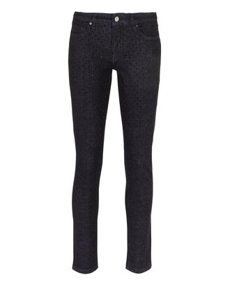 Embellished Slim Crop Jeans, BLACK, hi-res