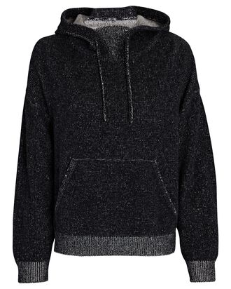 Hooded Two-Tone Wool-Cashmere Sweater, BLACK, hi-res