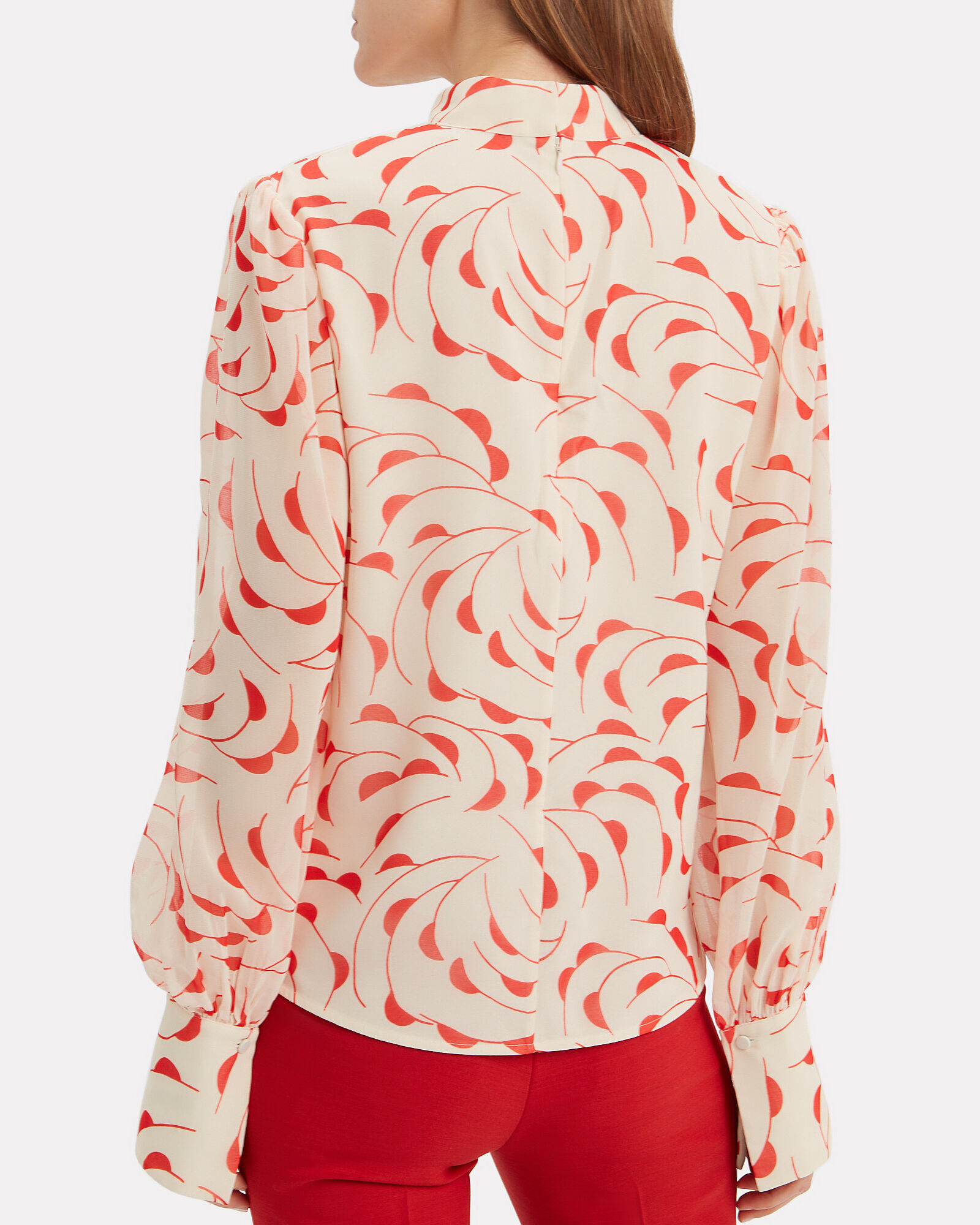 High Neck Printed Blouse, ECRU/RED, hi-res