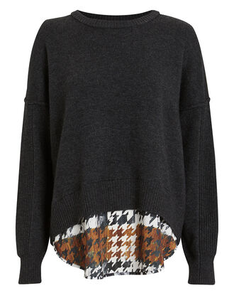 Layered Houndstooth Wool-Cashmere Sweater, GREY, hi-res