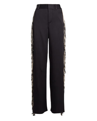 Fringed Satin Wide Leg Pants, BLACK, hi-res