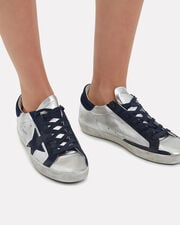 Superstar Navy Star Silver Sneakers, SILVER, hi-res