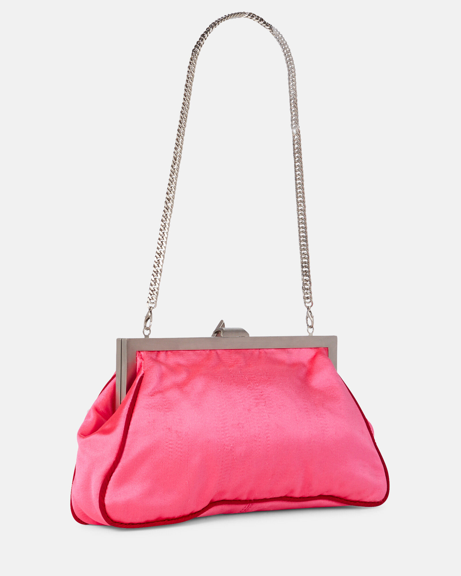 Alma Satin Clutch, PINK-DRK, hi-res