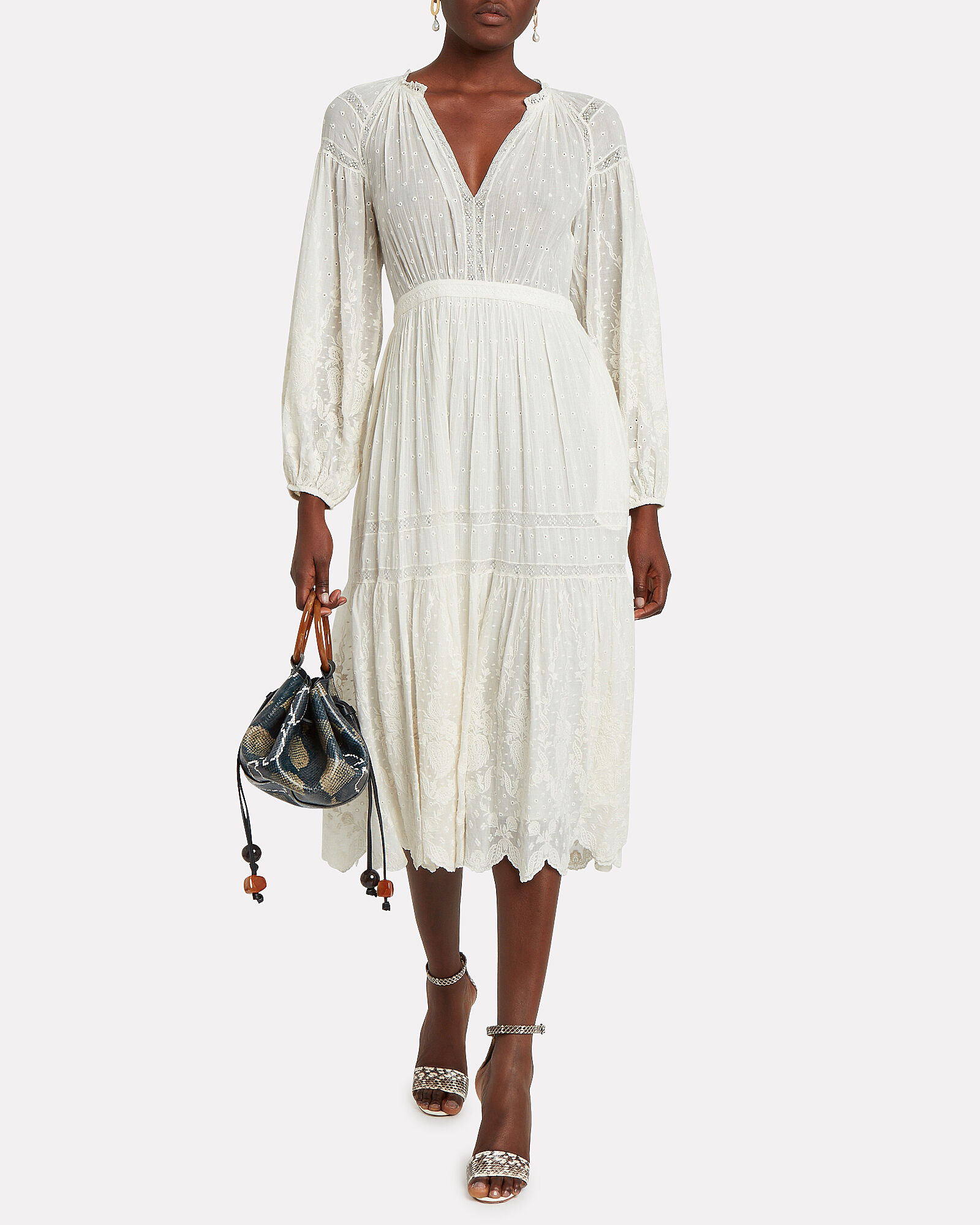 Bettina Embroidered Cotton Midi Dress, WHITE, hi-res