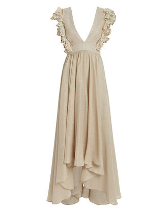Firel Ruffled Metallic Cotton Dress, BEIGE, hi-res