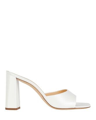 Juju Leather Slide Sandals, WHITE, hi-res